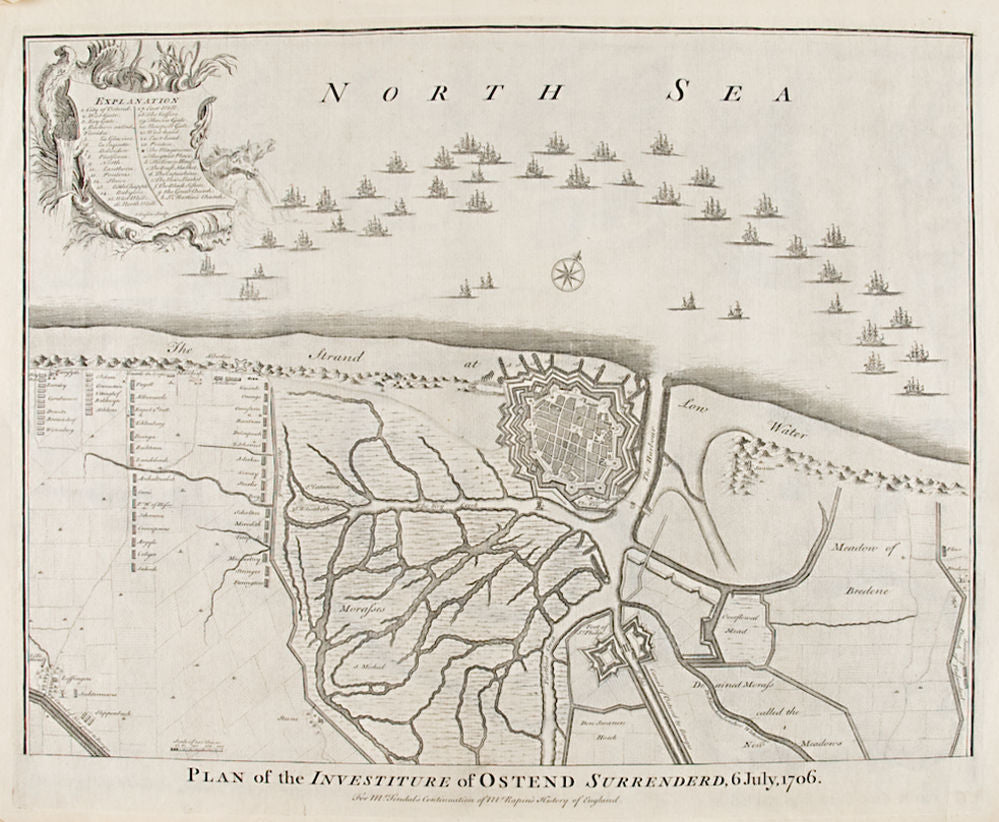 Plan of the Investiture of Ostend Surrendered, 6 July, 1706
