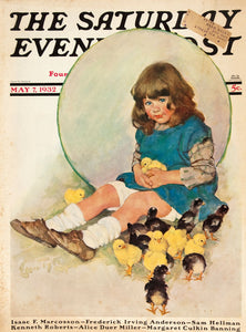 The Saturday Evening Post [Young girl with chicks