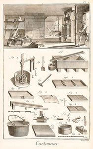 Cartonnier et gauffreur en carton (Board-making and embossing
