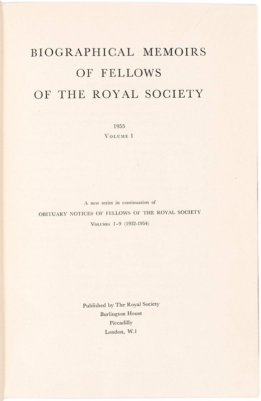Biographical Memoirs of the Fellows of the Royal Society 1-61. <i