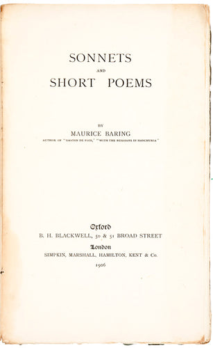 Sonnets and Short Poems