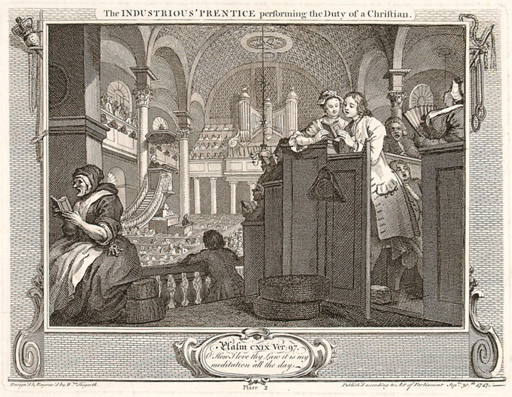 The Industrious 'Prentice performing the Duty of a Christian. Plate 2
