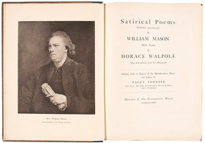 Satirical Poems Published anonymously by William Mason with Notes by Horace