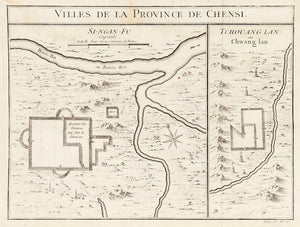 Villes de la Province de Chensi. ( Map of Shanxi Province, China