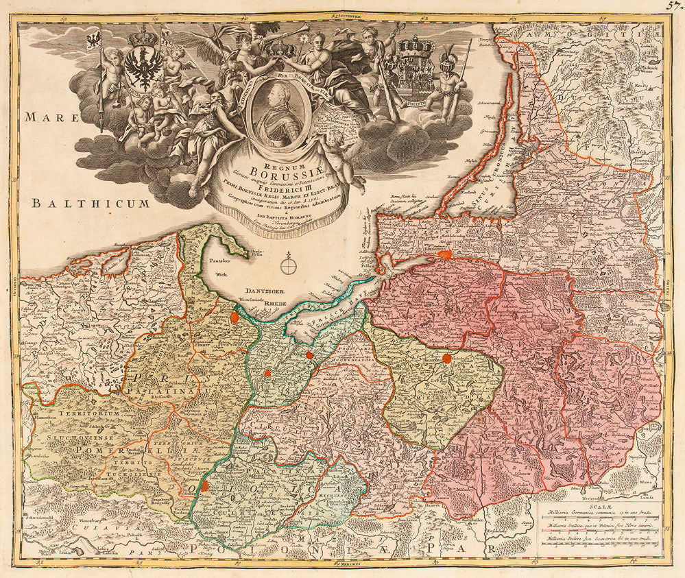 Regnum Borussiae...Friderici III. (Map of the Baltic including Poland