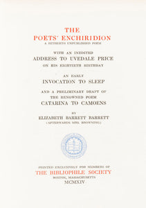 The Poets' Enchiridion : a hitherto unpublished poem; with an inedited address
