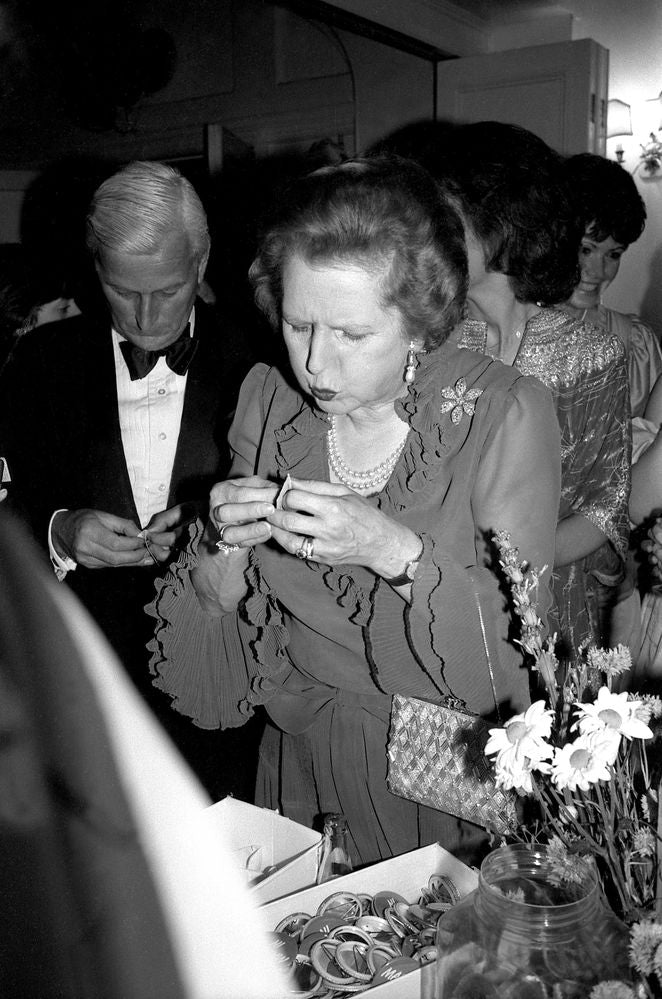 Margaret Thatcher at the Hurlingham Club. Michael Grylls and Margaret Thatcher