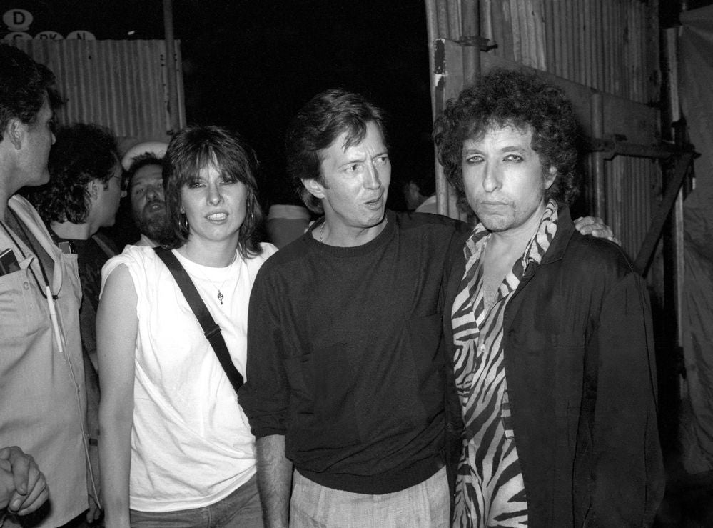 Bob Dylan in concert, Wembley Stadium. Chrissie Hynde, Eric Clapton and