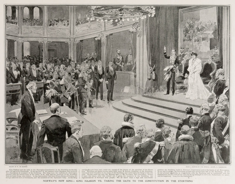 Norway's New King: King Haakon VII. taking The Oath of the