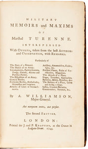 Military memoirs and maxims of Marshal Turenne. Interspersed with others, taken