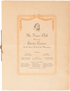 Friars Club Dinner Programme