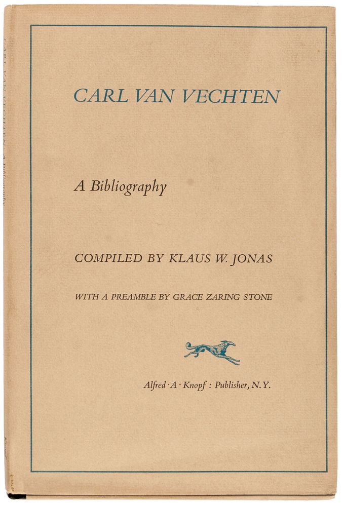 Carl Van Vechten.  A Bibliography.  With a Preamble by Grace Zaring