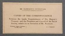 Load image into Gallery viewer, Mr Babbage's Invention. Copies of the correspondence between the Lords Commissioners