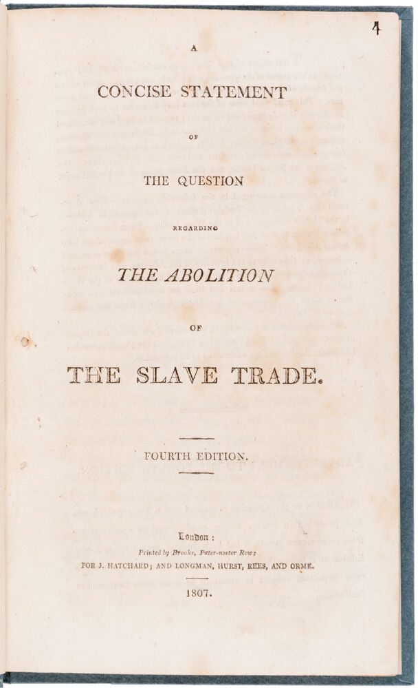 A Concise Statement of the Question regarding the Abolition of the