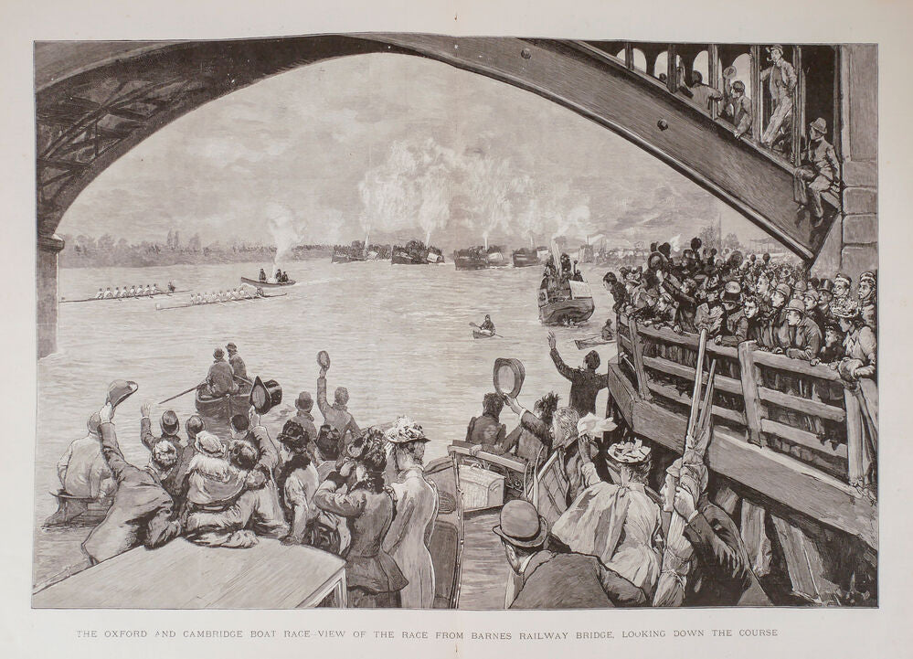 The Oxford and Cambridge Boat race - View of the race from