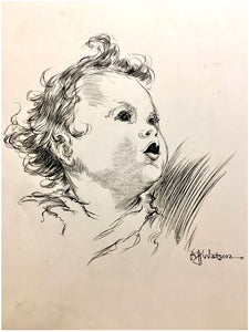 Pen-and-ink drawing  of the head of an infant