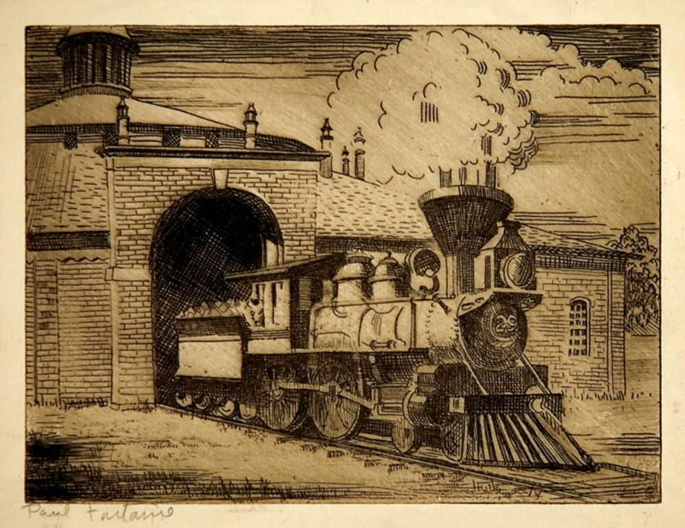 Original etching signed of a locomotive leaving an Engine shed