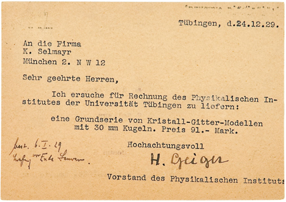A typed postcard, signed H. Geiger, Tübingen, 24th December 1929