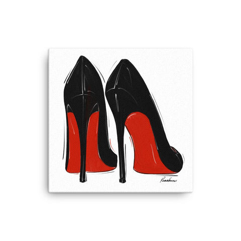 Little Black Red Bottoms on Canvas