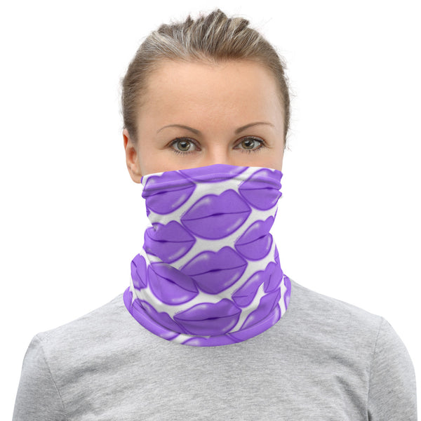 Purple Glow Lips Neck Gaiter