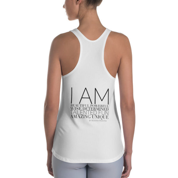 I AM by ROXANA FRONTINI White Women's Racerback Tank