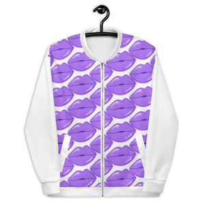 Purple Glow Lips Bomber Jacket