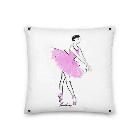 Ballerina in Pink Premium Pillow 18x18