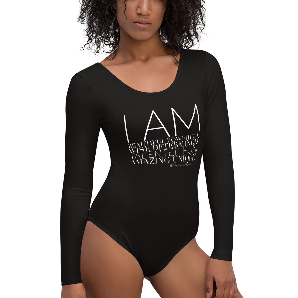 I AM by ROXANA FRONTINI Black Long Sleeve Bodysuit