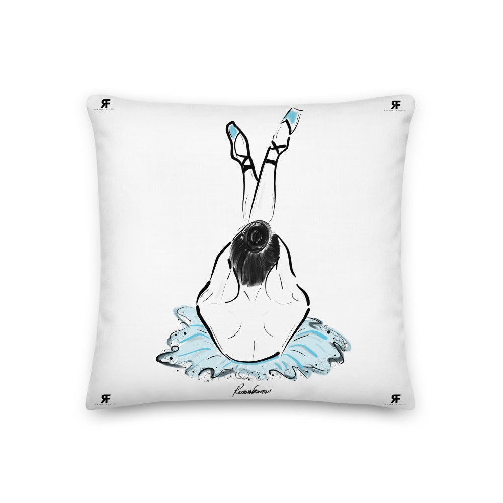 Ballerina in Blue Premium Pillow 18x18