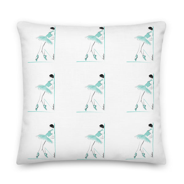 Ballerina in Aqua Premium Pillow 22x22