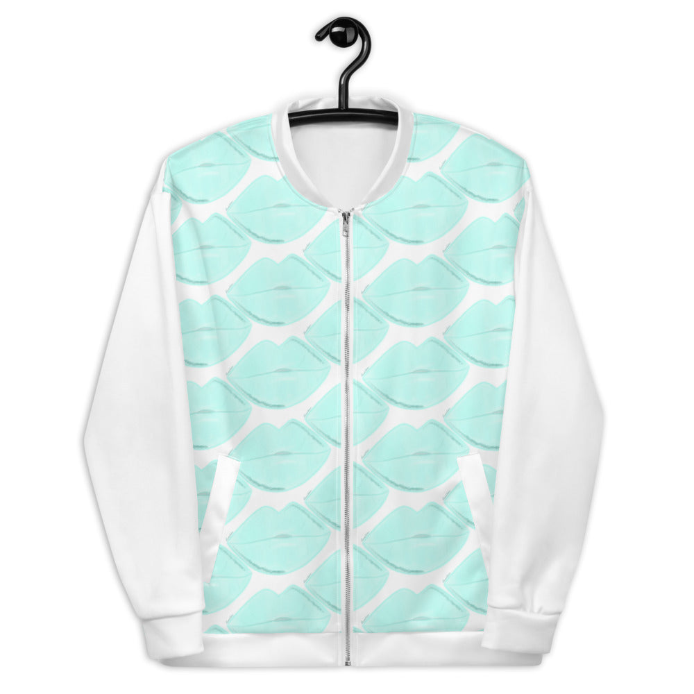 Clean Aqua Lips Bomber Jacket