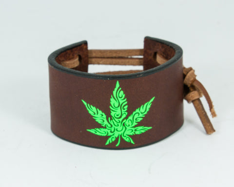 420 Leaf Green 100% Solid Leather Wrist Cuff