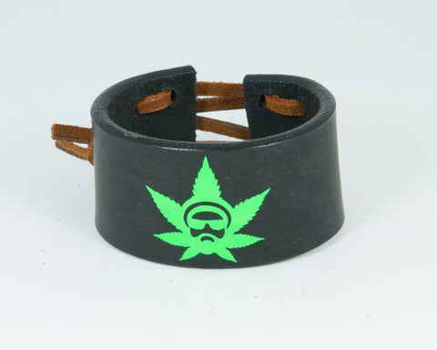 420 Hippy Leaf 100% Solid Leather Wrist Cuff