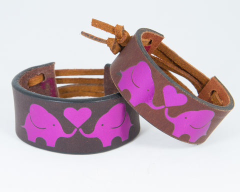 Elephants Share Heart Purple Metallic Graphic 100% Solid Leather Wrist Cuff