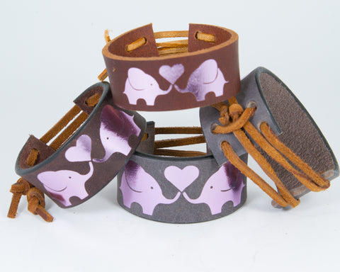 Elephants Share Heart Pink Metallic Graphic 100% Solid Leather Wrist Cuff