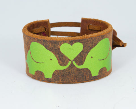 Elephants Share Heart Dark Green Metallic Graphic 100% Solid Leather Wrist Cuff