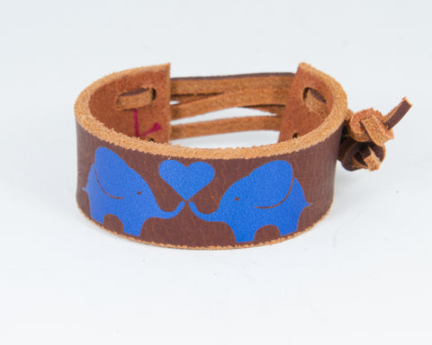 Elephants Share Heart Blue Metallic Graphic 100% Solid Leather Wrist Cuff