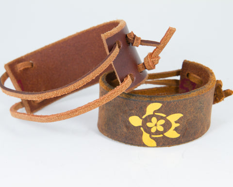 Island Turtle Gold Metallic Graphic 100% Solid Leather Wrist Cuff