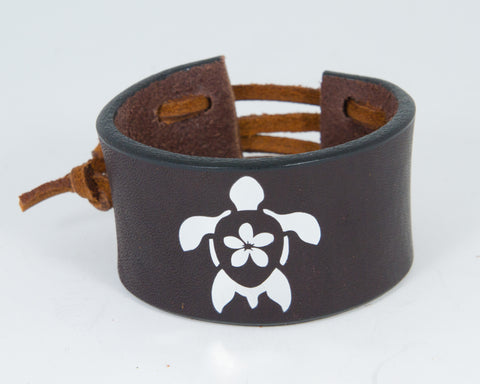 Island Turtle Silver Metallic Graphic 100% Solid Leather Wrist Cuff