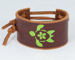 Island Turtle Dark Green Metallic Graphic 100% Solid Leather Wrist Cuff