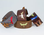 Three Dragon Flies Graphic in Multiple Colors Metallic 100% Solid Leather Wrist Cuff