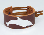 Dolphin Graphic in Silver Metallic 100% Solid Leather Wrist Cuff
