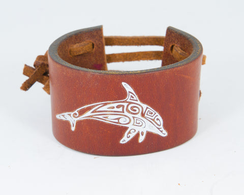 Tribal Dolphin Graphic in Silver Metallic 100% Solid Leather Wrist Cuff
