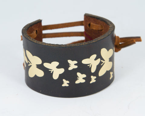 Flock Butterflies Graphic in Gold Metallic 100% Solid Leather Wrist Cuff