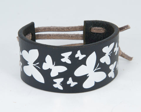Flock Butterflies Graphic in Silver Metallic 100% Solid Leather Wrist Cuff