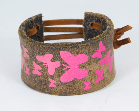 Flock Butterflies Graphic in Fuscia Metallic 100% Solid Leather Wrist Cuff