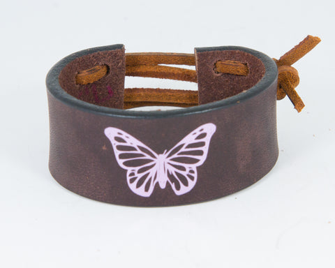 Monarch Butterfly Graphic in Pink Metallic 100% Solid Leather Wrist Cuff