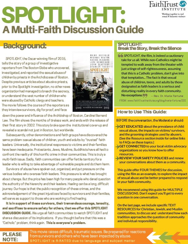 Spotlight: Multi-Faith Discussion Guide