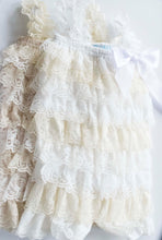 Load image into Gallery viewer, White Cream Sand - Lace Baby Romper in White & Cream Stripe Options