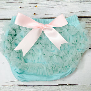 Aqua Blue Short Sheer Ruffled Baby Bloomer